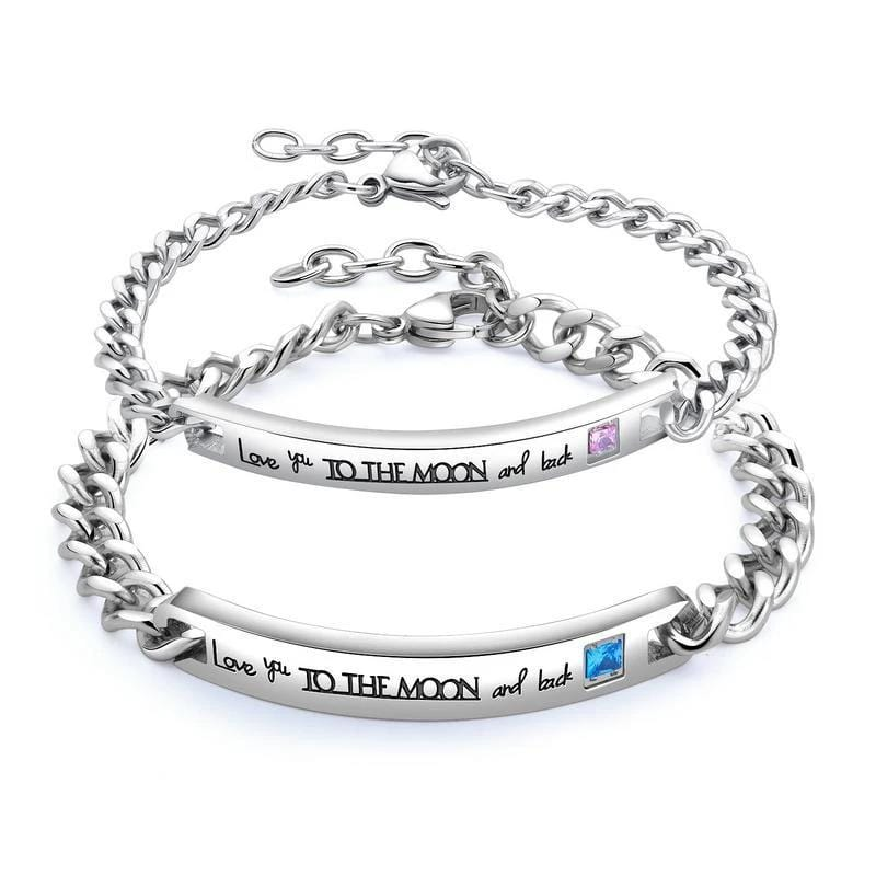 CZ Diamond 'To the Moon' Couple Bracelets