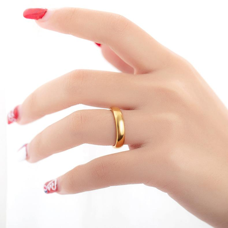 Couple's Engravable Classic Tungsten Promise Ring with Gold IP