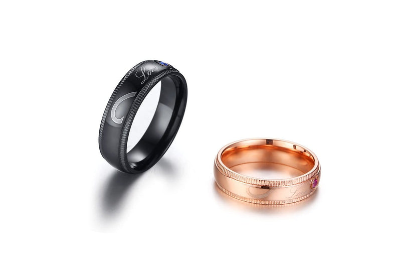 LOVE Black and Rose Gold Plated with Round Cut Gemstones Stainless Steel Couple Rings