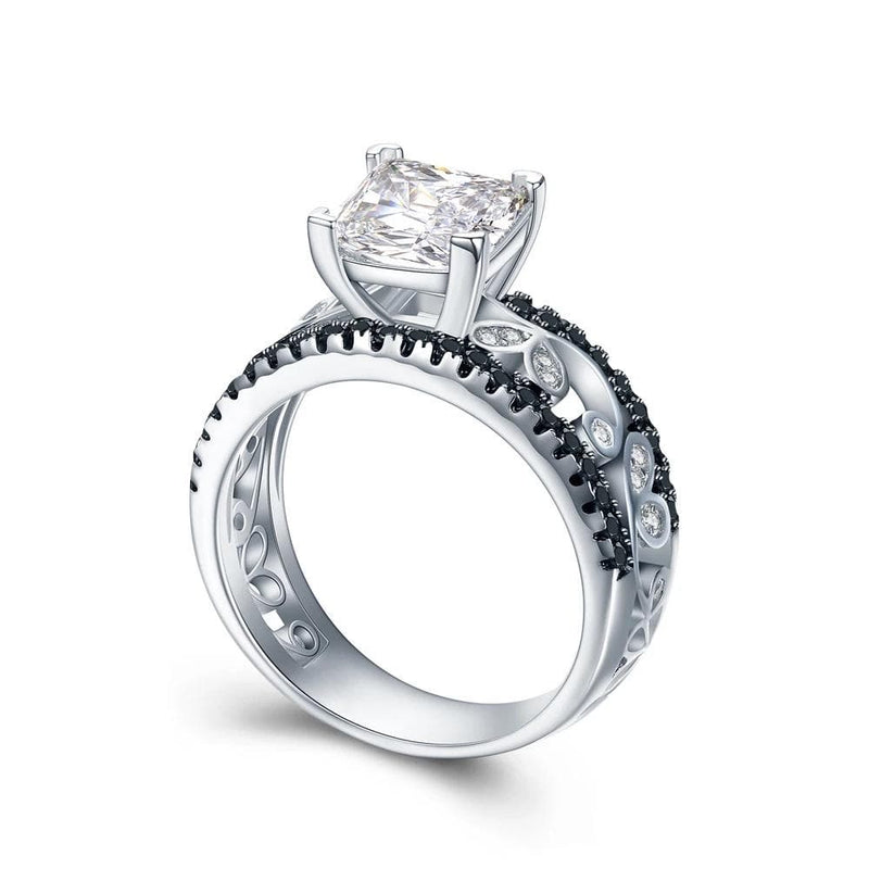 1.0 CT. Princess-Cut Diamond Hollow Designed Shank Engagement Ring in Sterling Silver ALLBIZIA