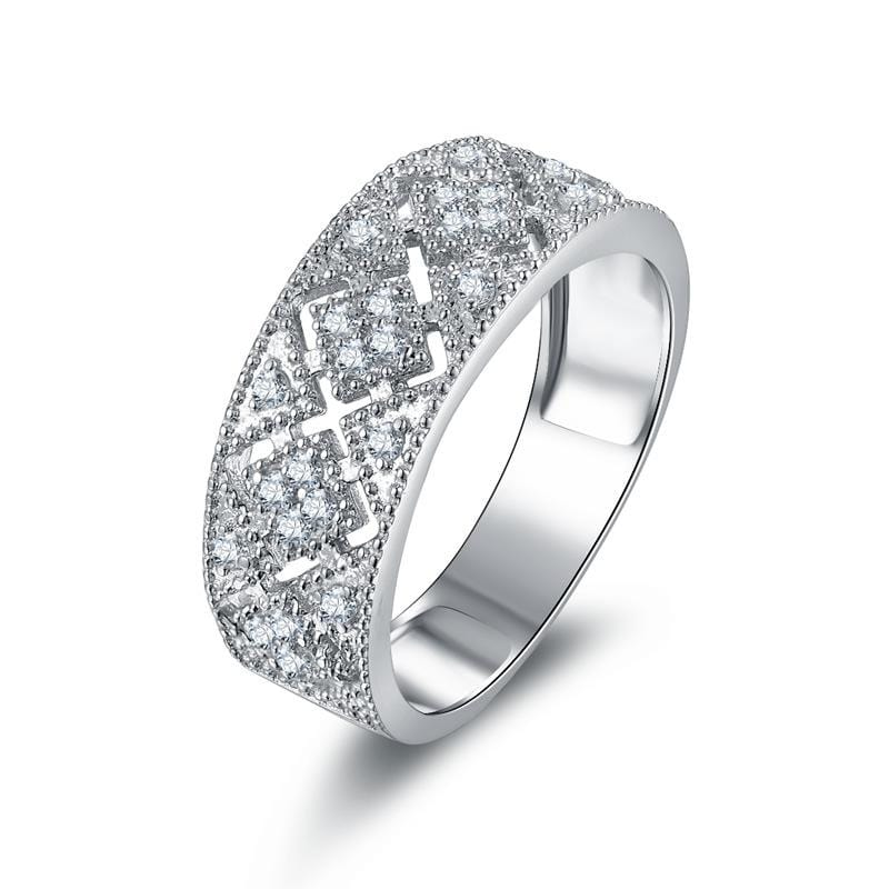 1.0 CT. Round Diamond Composite Vintage-Style Anniversary Ring in Sterling Silver ALLBIZIA