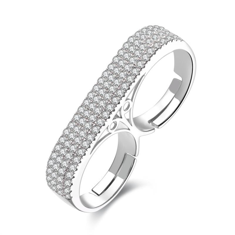 1.0 CT. Diamond Pavé Style Two-Finger Adjustable Promise Ring in Sterling Silver ALLBIZIA