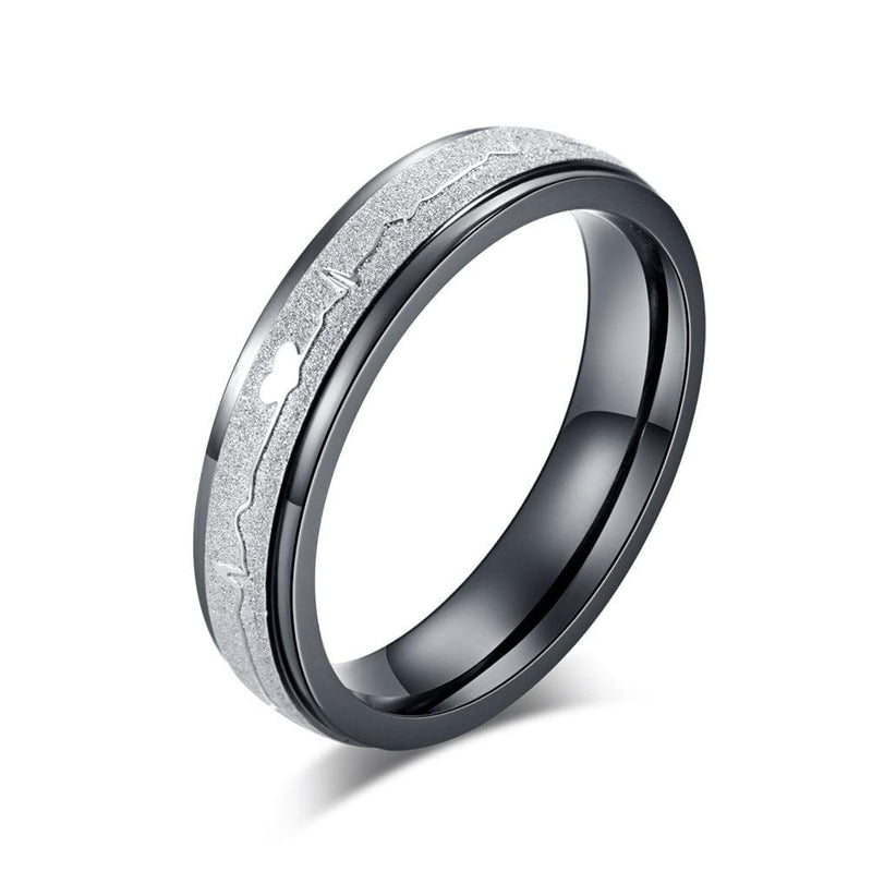 Couple's Engravable Heartbeats Two-Tone Titanium Promise Ring with Rose & Black IP