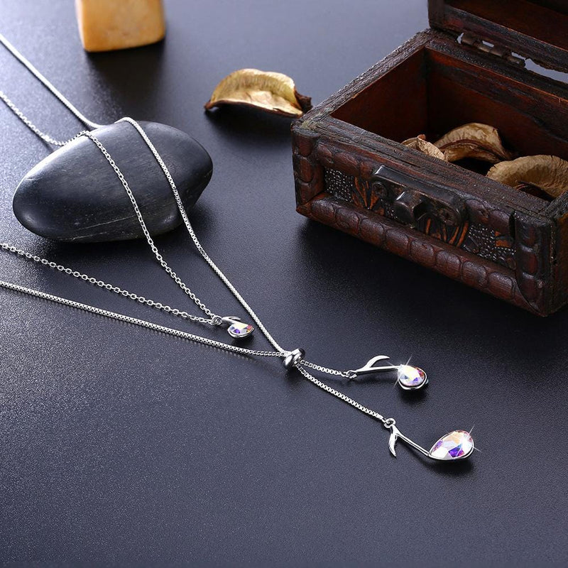 Love Is A Wonderful Melody Sterling Silver Long Drop Double-layer Necklace
