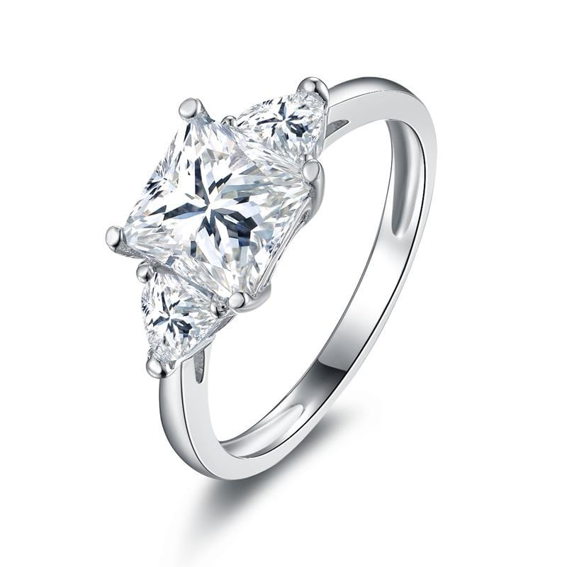 1.6 CT Princess-Cut Three Stones Engagement Ring in Sterling Silver ALLBIZIA