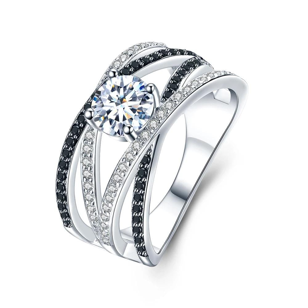 0.8 CT. Round Diamond Crossover Split Shank Engagement Ring in Sterling Silver ALLBIZIA