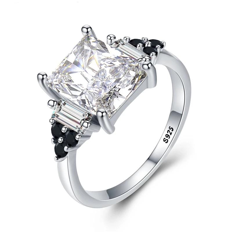 2.0 CT. Radiant-Cut Diamond Engagement Ring in Sterling Silver ALLBIZIA