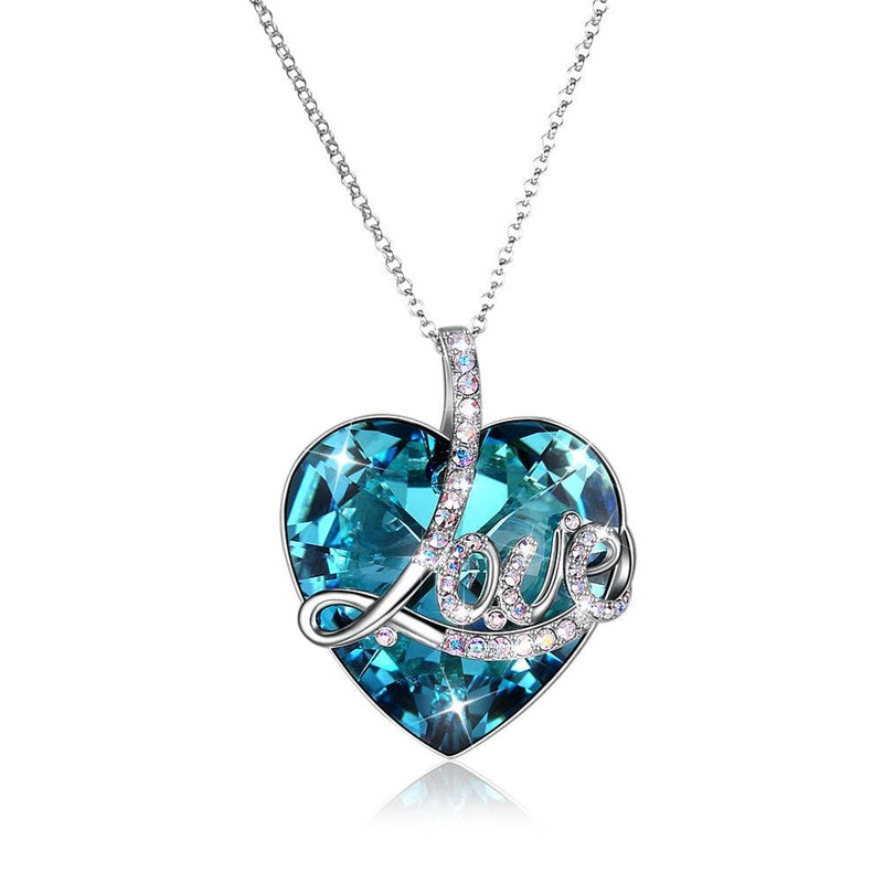 LOVE Long Chain Crystal Ocean Heart S925 Sterling Silver Necklace