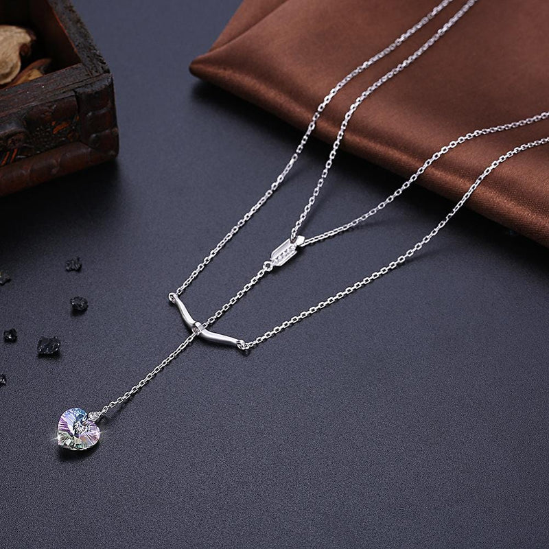 Pure Love Sterling Silver Long Drop Double-layer Necklace