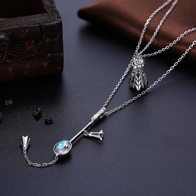 Perfect Couple Sterling Silver Long Drop Double-layer Necklace