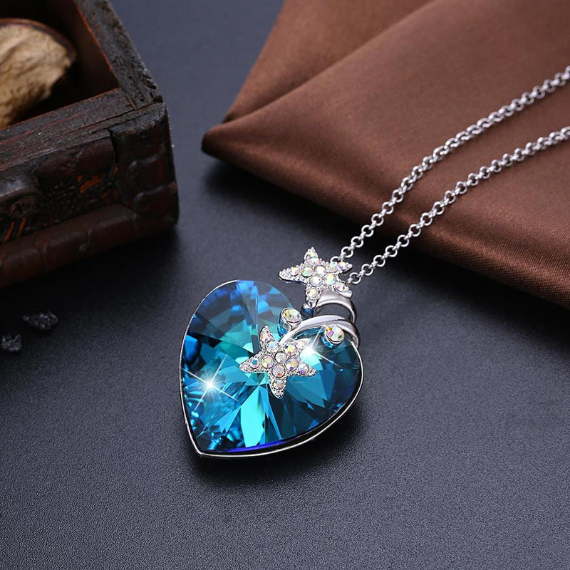 Stars Long Chain Crystal Ocean Heart S925 Sterling Silver Necklace