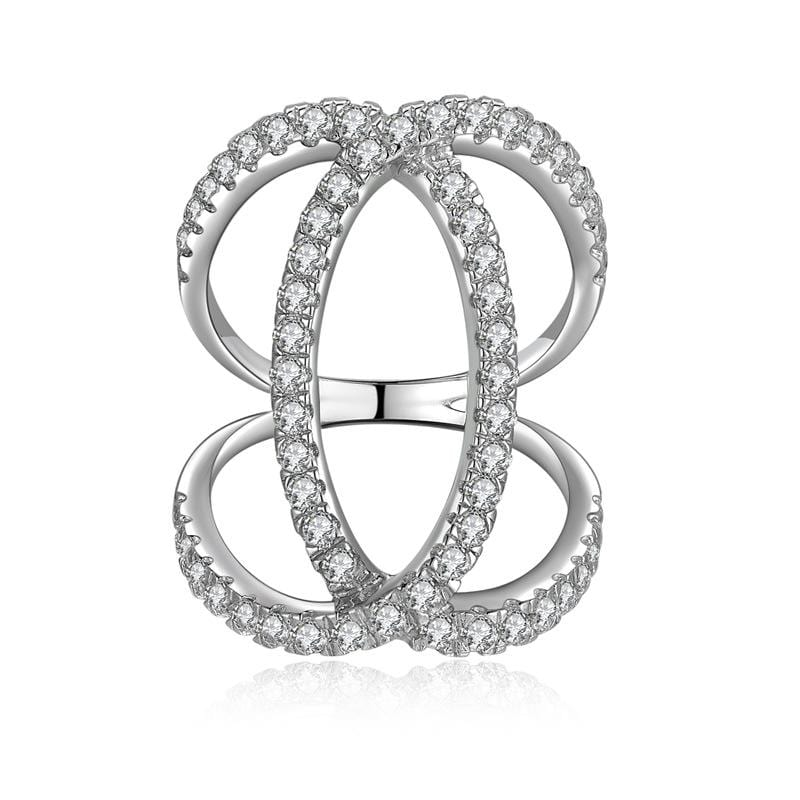 1.0 CT Diamond Geometry Pavé Thin Anniversary Band in Sterling Silver ALLBIZIA