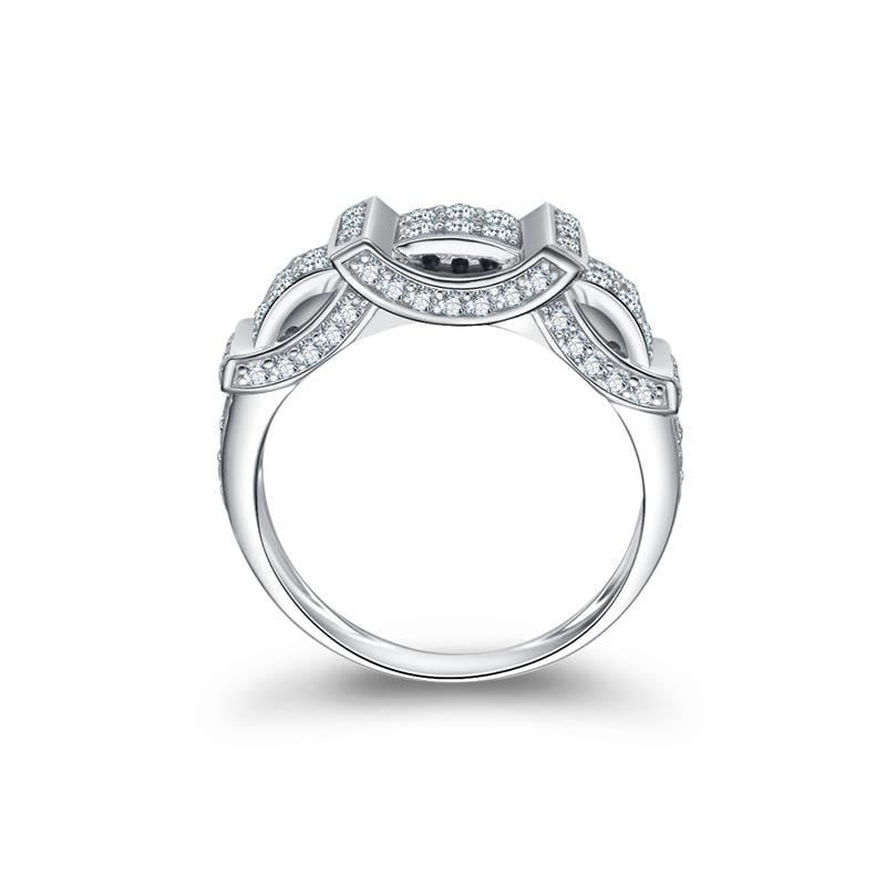 0.3 CT. Diamond Station Composite Vintage-Style Anniversary Ring in Sterling Silver ALLBIZIA