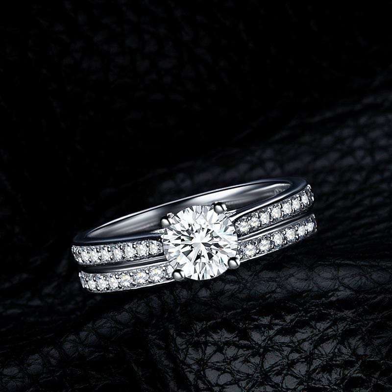 0.75 CT. Round Diamond Bridal Set in Sterling Silver ALLBIZIA