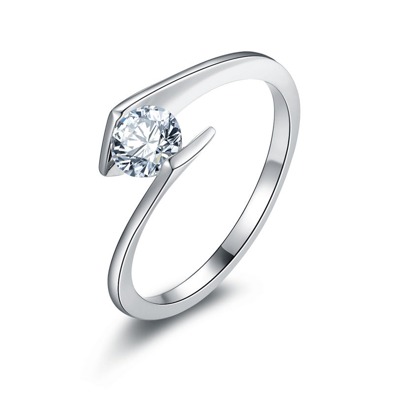 0.65 CT Diamond Tension Style Engagement Ring in Sterling Silver ALLBIZIA