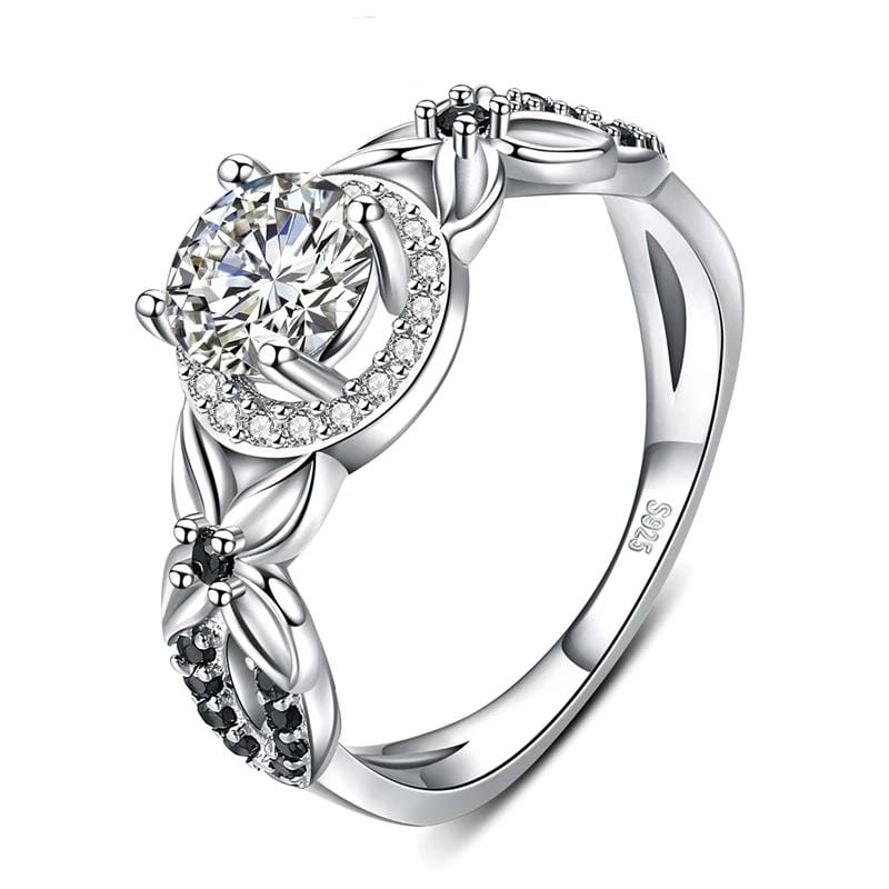 0.8 CT. Round-Cut Diamond Halo Frame Flower Shank Engagement Ring in Sterling Silver ALLBIZIA