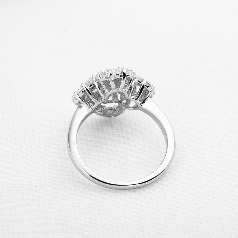 1/4 CT. Diamond Pear-Cut Halo Flower Frame Solitaire Engagement Ring in Sterling Silver ALLBIZIA