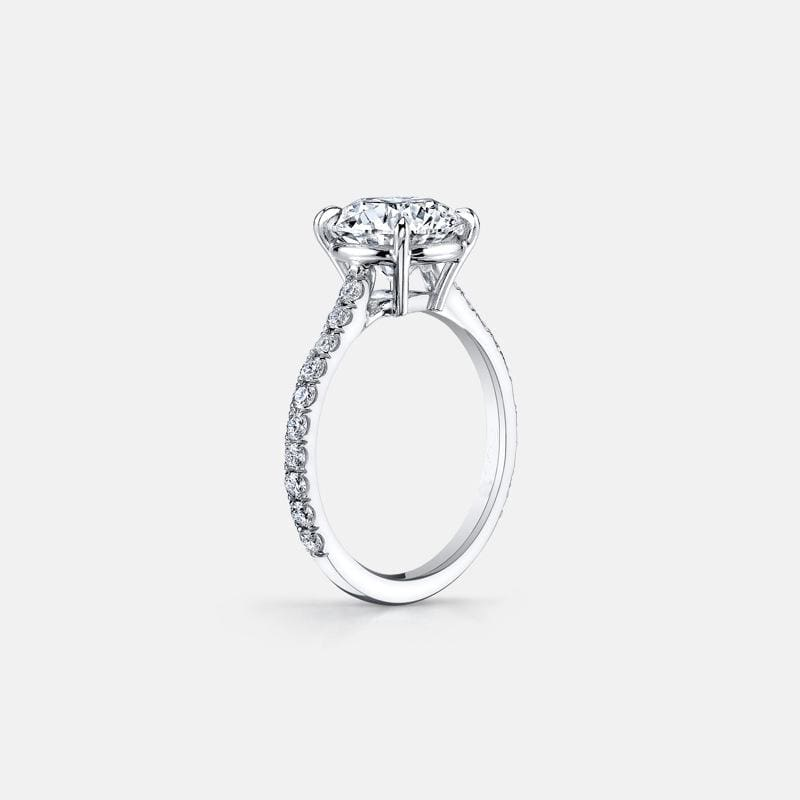 3.0 CT Round-Cut Diamond Classic Engagement Ring in Sterling Silver ALLBIZIA