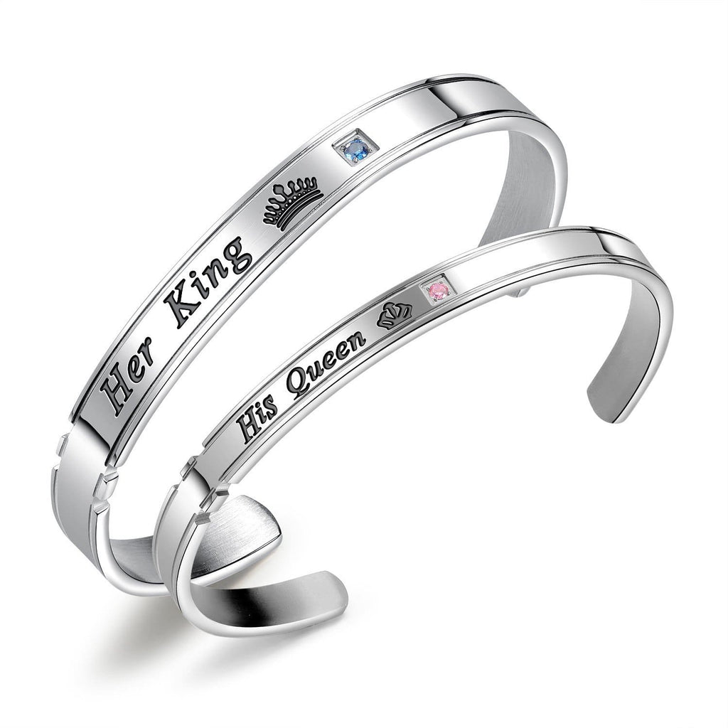 Her King and His Queen Cuff Bracelets for Couples
