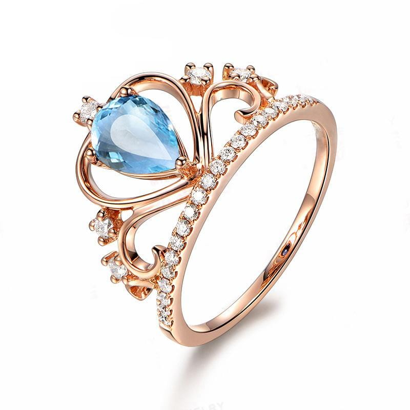 1.0 CT Pear-Cut Sapphire Blue Diamond Crown-Shape Rose Gold Promise Ring in Sterling Silver ALLBIZIA