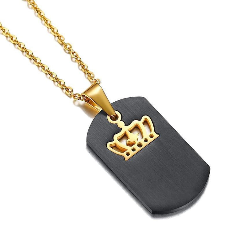 Black King & Queen Tag Couple Necklaces with Gold Crown