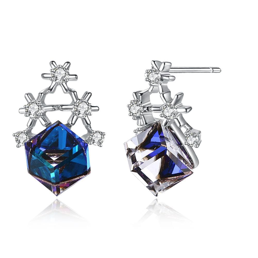 Blue Cube Swarovski Crystal Sterling Silver Snowflake Earrings