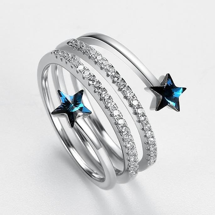 Blue Swarovski Crystal Stars Adjustable Sterling Silver Ring