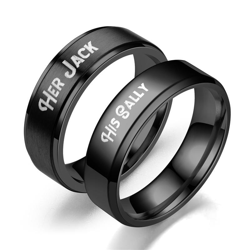 Couple's Engravable Her Jack & His Sally Promise Rings in Stainless Steel with Black IP