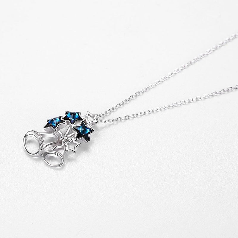 Swarovski Crystal Stars S925 Sterling Silver Bell Necklace