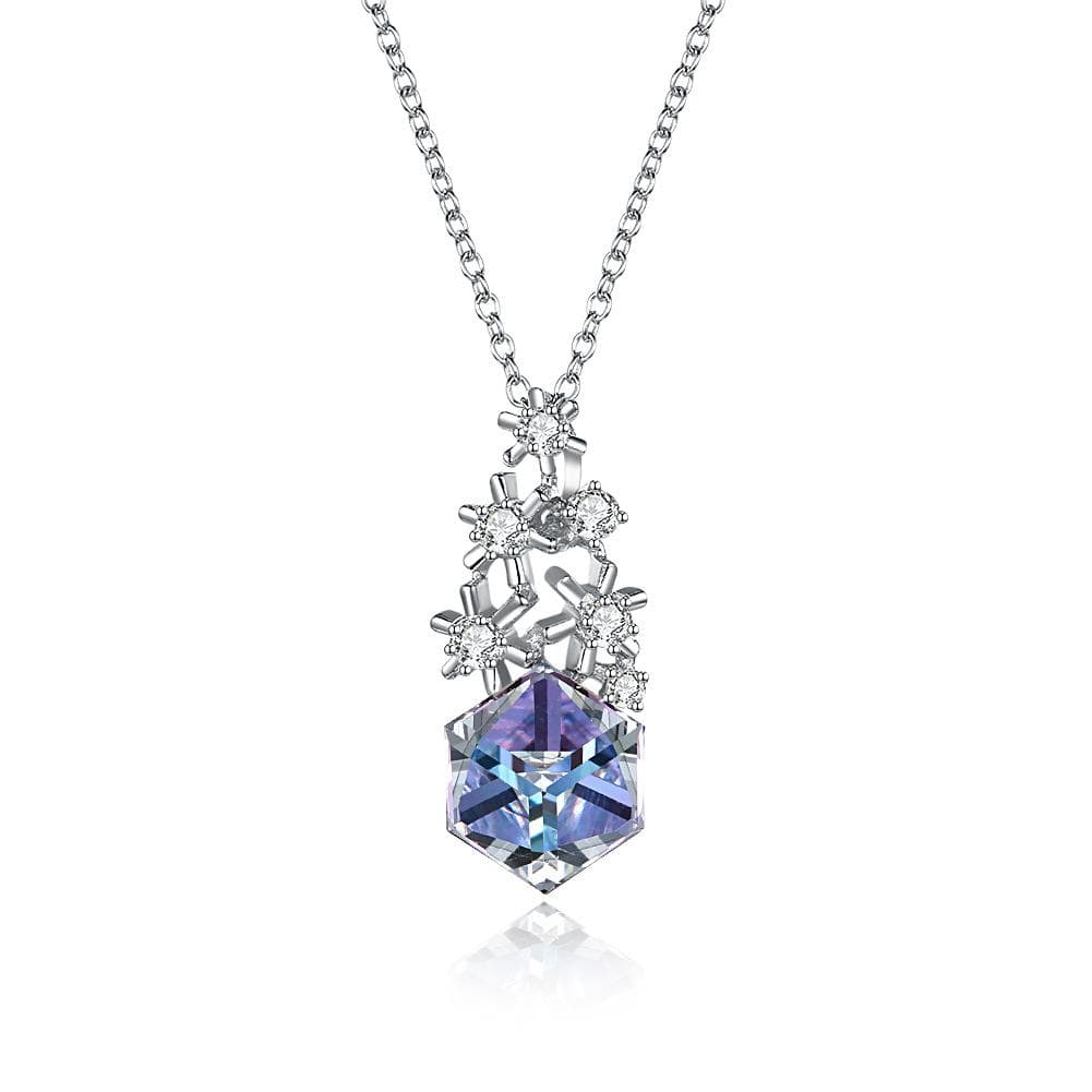 Multi-colored Swarovski Crystal Cube Sterling Silver Snowflake Necklace