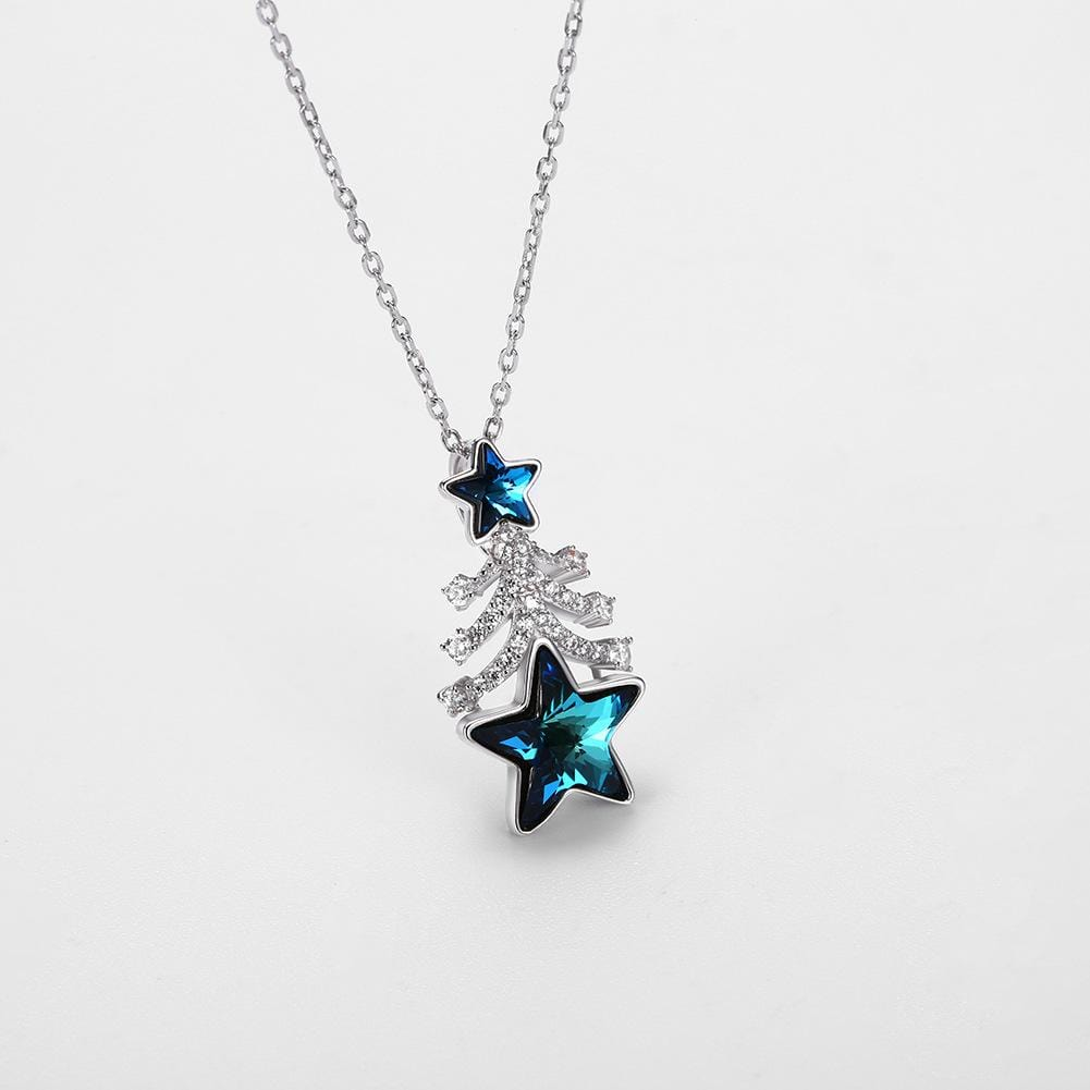 Blue Swarovski Crystal Stars Christmas Tree Sterling Silver Necklace