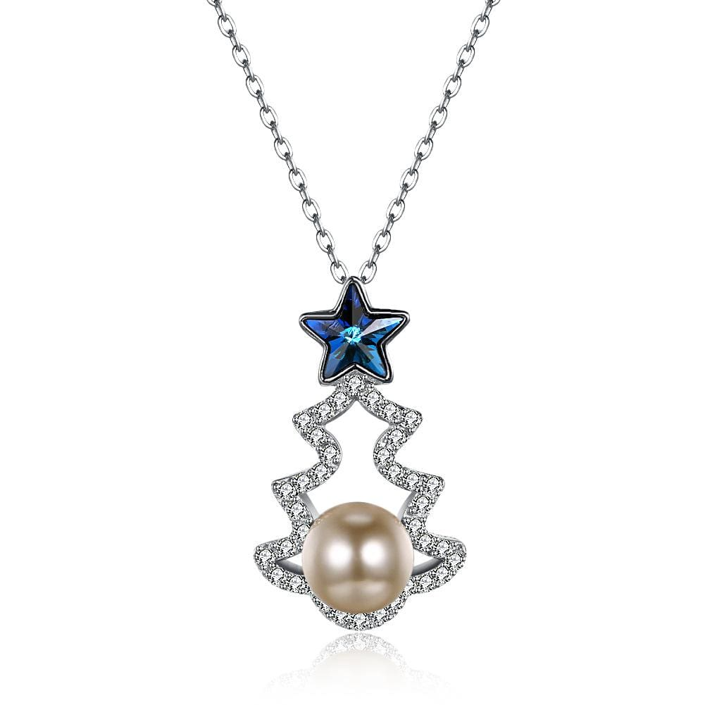 S925 Sterling Silver Christmas Star Tree Cultured Pearl Necklace