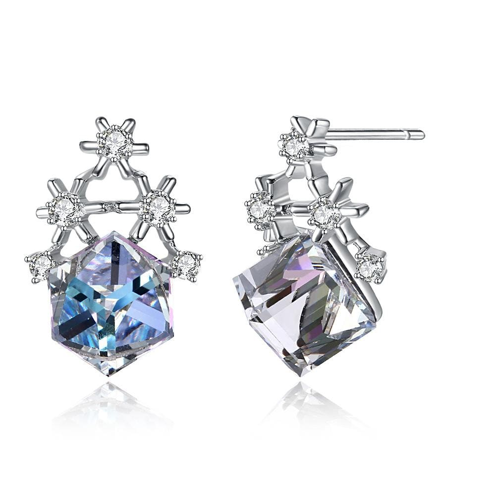 Multi-colored Swarovski Crystal Cube Sterling Silver Snowflake Earrings