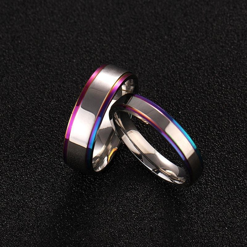 Couple's Multi-Color Titanium Promise Ring