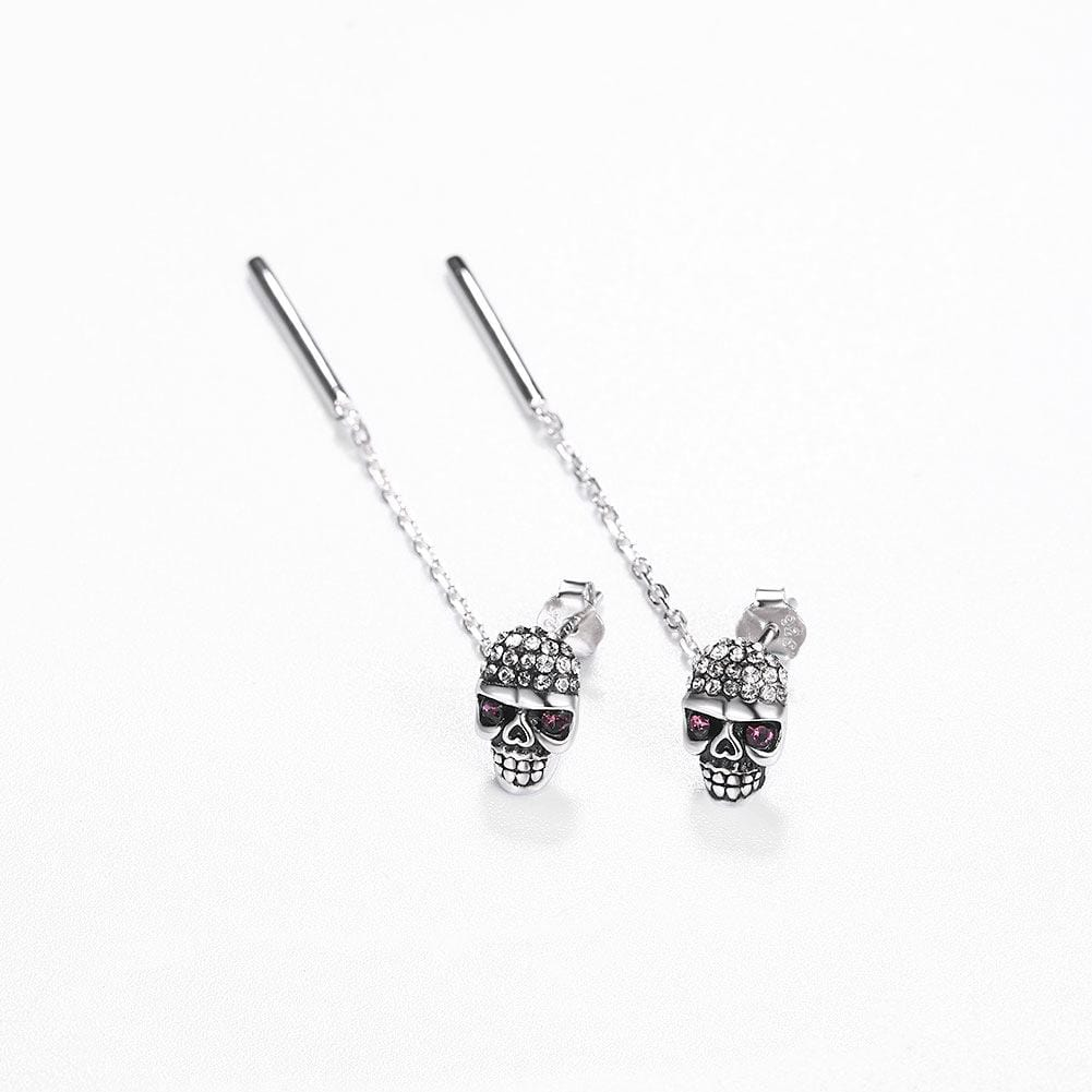 Skull Sterling Silver Drop Earrings