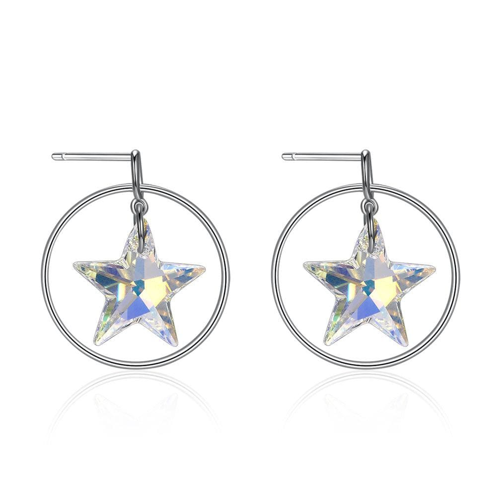 Swarovski Crystal Stars Sterling Silver Hoop Earrings