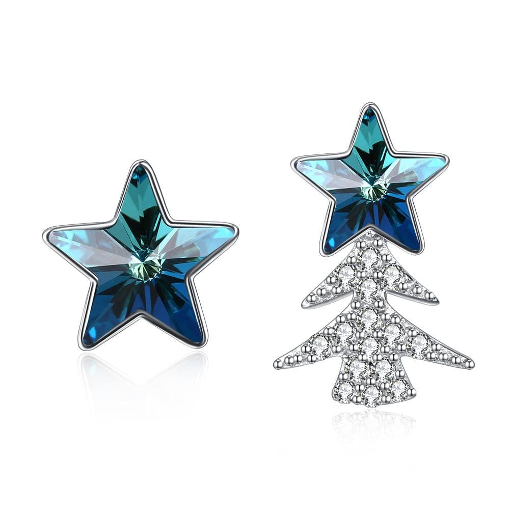 Blue Swarovski Crystal Asymmetric Stars Sterling Silver Studs Earrings