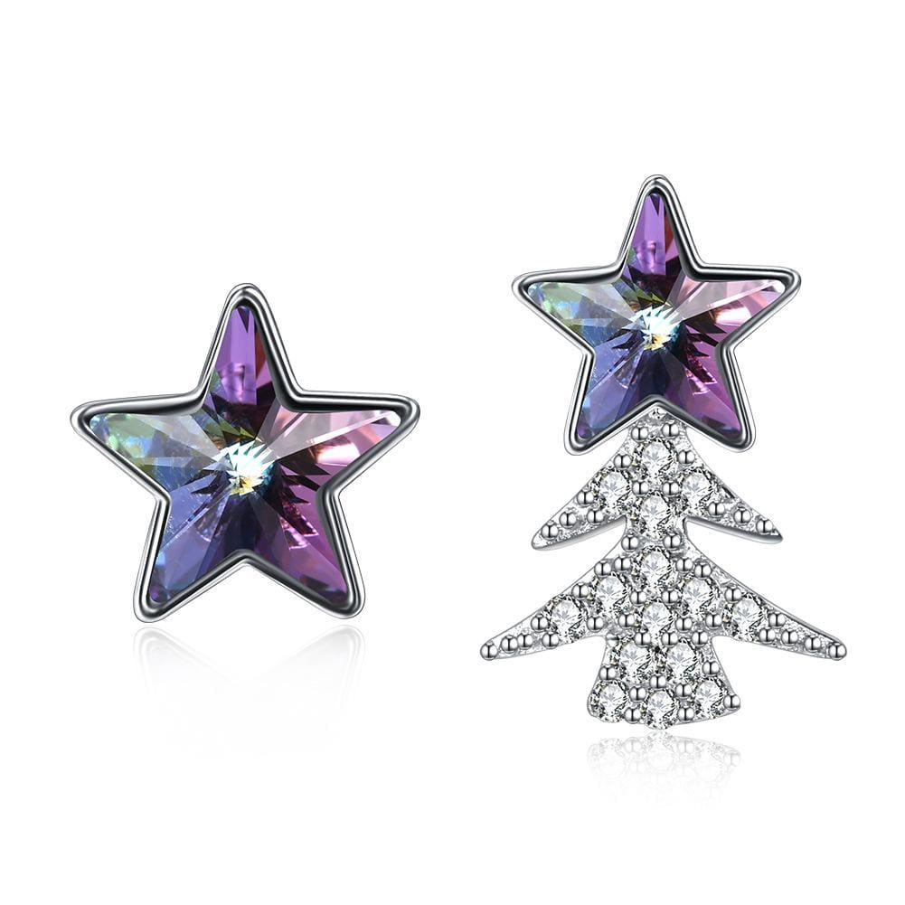 Purple Swarovski Crystal Asymmetric Stars Sterling Silver Studs Earrings