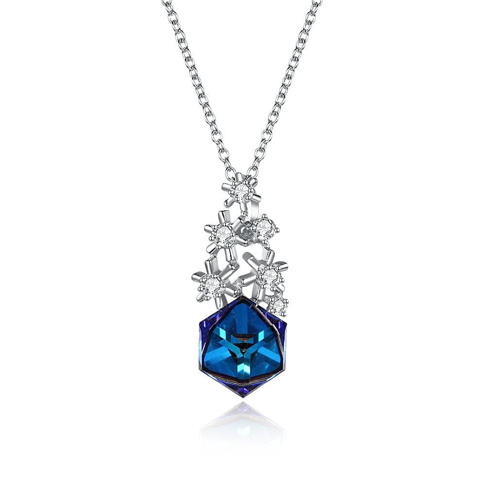 Blue Swarovski Crystal Cube Sterling Silver Snowflake Necklace