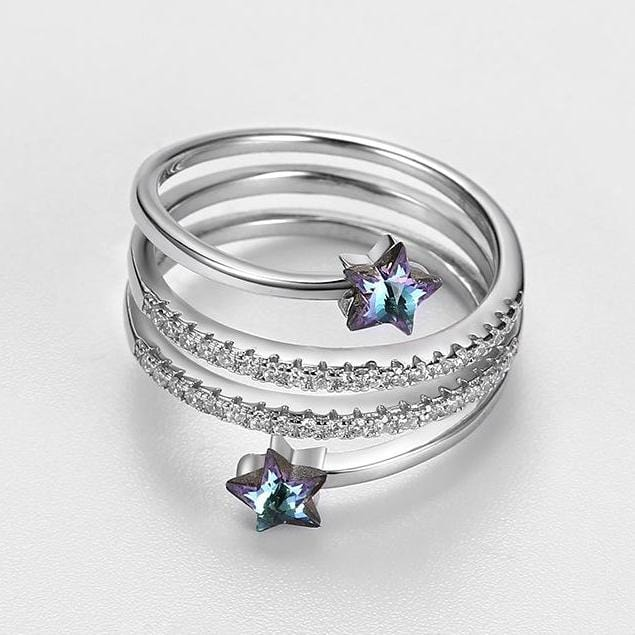 Purple Swarovski Crystal Stars Adjustable Sterling Silver Ring
