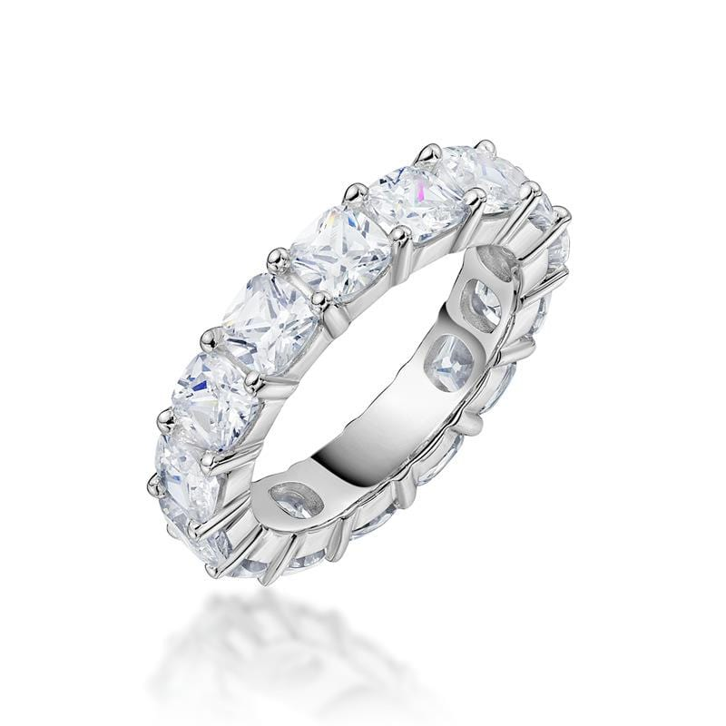 4.8 CT. Cushion-Cut Diamond Eternity Band in Sterling Silver