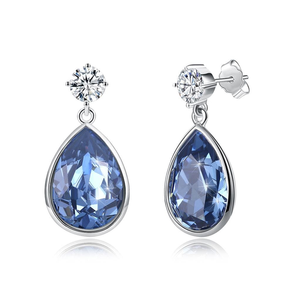 Swarovski crystal Pear Shape S925 Sterling Silver Drop Earrings