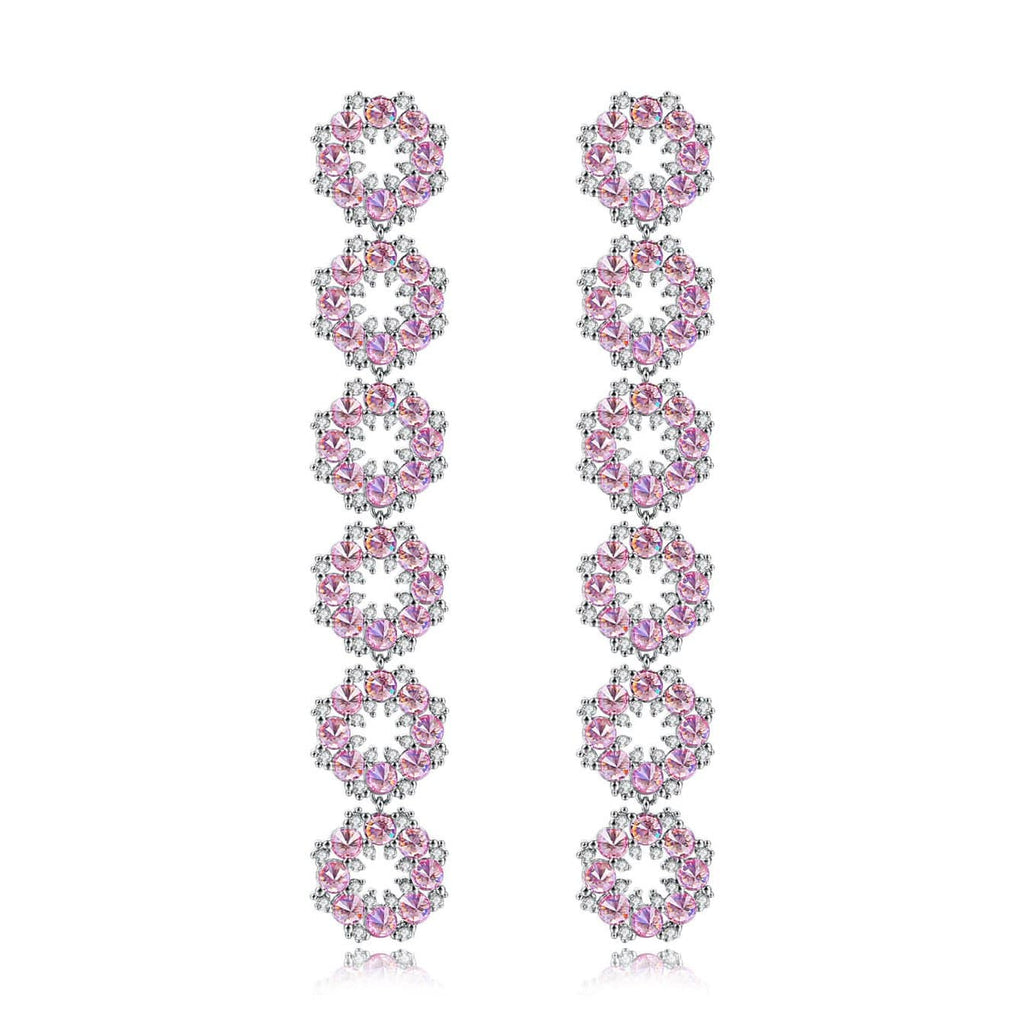 S925 Silver Ear Nail Pink Flowers 18K White Gold Plated Drop Earrings