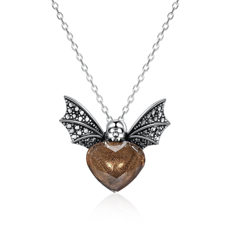 Halloween Bat Brown Crystal Heart S925 Sterling Silver Necklace