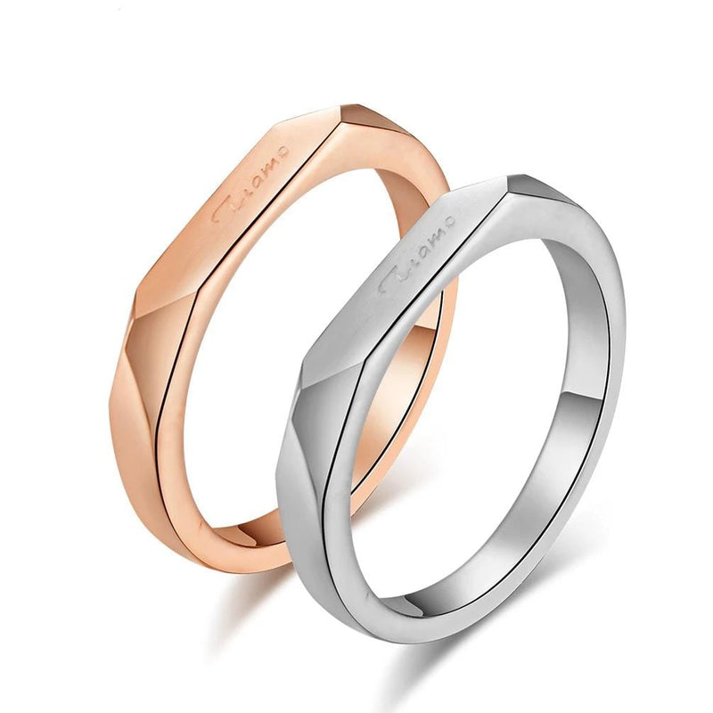Couple's Engravable TIAMO Promise Ring in Titanium with Rose IP
