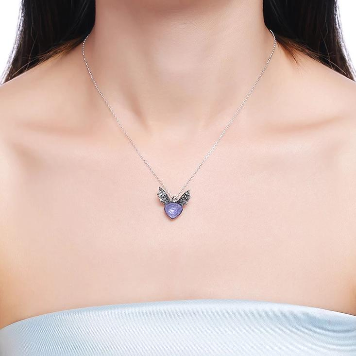 Halloween Bat Purple Heart S925 Sterling Silver Necklace