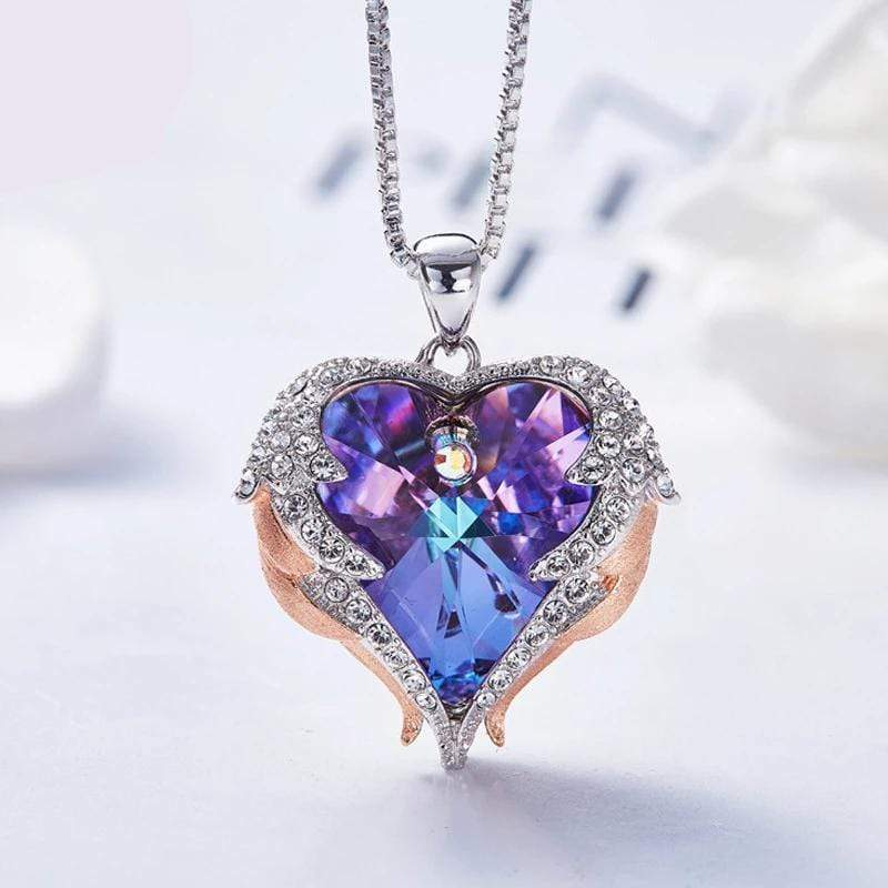 Purple Crystal Heart Two-Tone Wings Necklace