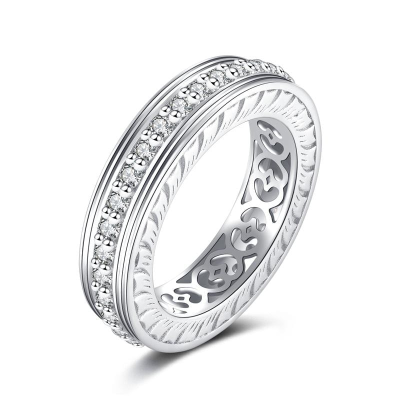 1.18 CT. Round Diamond Eternity Wedding Band in Sterling Silver ALLBIZIA