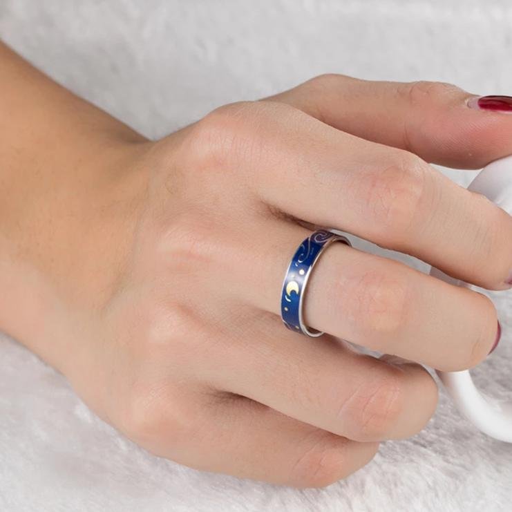 Couple's Engravable The Starry Night Promise Ring in Titanium