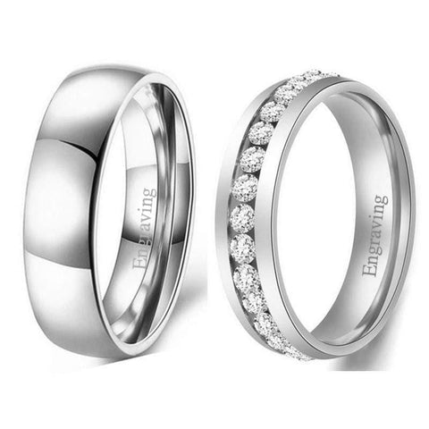 Couple's Engravable Heartbeats Promise Rings in Titanium with Black IP
